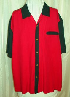 Retro 50's Style Vintage Silk Red & Black Two Tone Rockabilly Lounge Shirt XL