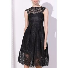 Wholesale Fashionable Round Collar Cap Sleeve Lace A-Line Dress For Women Only $6.98 Drop Shipping | TrendsGal.com