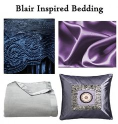 Blue Satin Comforter- Touch of Class, Purple Satin Sheets- Amazon, Silver Throw Blanket- Target, Throw Pillow- Overstock.com