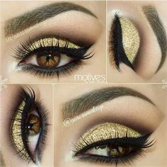Gold Glitter Smokey Eye For brown eyes ️MAKE me UP ️ ❤ liked on Polyvore featuring beauty products, makeup, eye makeup, eyes and beauty