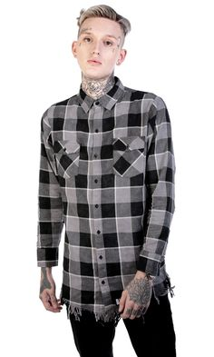 Melvin Plaid Shirt Disturbiaclothing Disturbia Distressed Desaturated Washed Metal Alien Goth Occult Grunge Alternative Punk