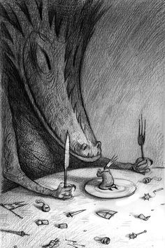 Shaun Tan - Down with the monarchy, biro and pencil, 20 x 30cm