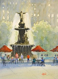 Fountain Square by Judy Mudd Watercolor ~ 13 x 10