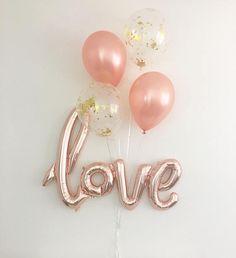 Rose Gold Balloons Love Balloon Rose Gold Balloon Bridal Shower Wedding Decor Rose Gold Wedding Rose Gold Bridal Shower Confetti Balloons