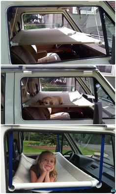 PVC Pipe Hanging Bed Hammock In Car-20 PVC Pipe DIY Projects #ForKids #Craft