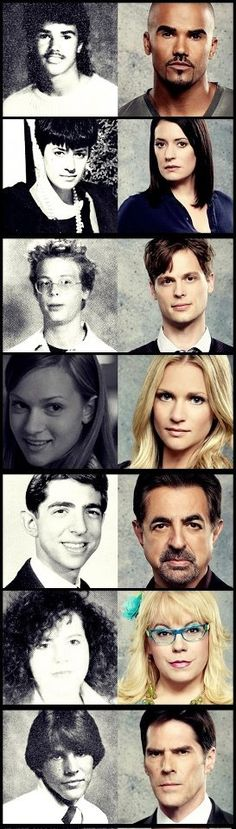 The Criminal Minds cast....can't stop laughing at Morgan's mullet and stache...