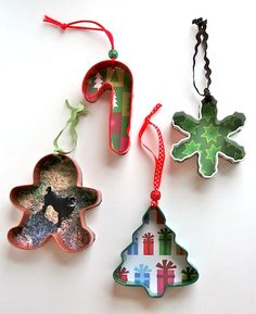 Cookie cutter Christmas ornaments - could do photo on one side & kid's drawing on the other. Will do this next year!