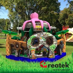The inflatable fun city with attractive shapes and colorful print includes slide, obstacles, jumping space. Inflatable Bounce House, Inflatable Slide, Logo Shapes, 3d Shapes, Bouncy Castle, Indoor Playground, Design Your Own, Castles, Playroom