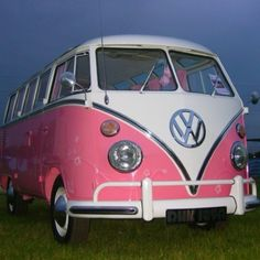 Pink volkswagen van.. My dream car .