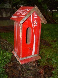old coca cola crate birdhouse