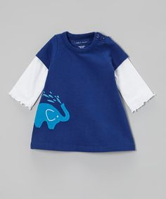 Take a look at this Navy Elephant Organic Layered Dress - Infant by Tumblewalla on #zulily today!