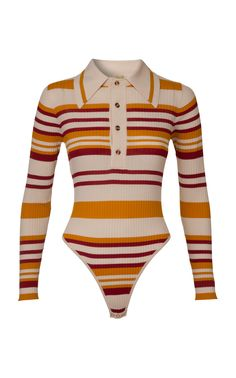 Penny Striped Ribbed-Knit Bodysuit by DoDo Bar Or Teen Fashion Outfits, Outfits For Teens, Cool Outfits, Casual Outfits, Estilo Madison Beer, Gossip Girl Fashion, Moda Vintage, Crop Top Outfits, Alternative Outfits