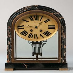 Tiffany & Co. Marble Art Deco Mantel Clock.   Lot 579   Auction 2975B   Sold for $492