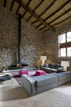 fireplace & stone wall