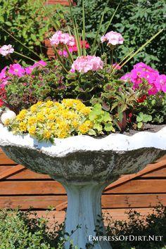 21 Gorgeous Flower Planter Ideas - Empress of Dirt Outdoor Flower Planters, Outdoor Flowers, Garden Planters, Flower Pots, Flowers Garden, Bird Bath Planter, Bird Bath Garden, Garden Fun, Front Gardens