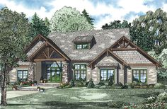 Haldane Rustic Luxury Home Arts and Crafts House Plan Front of Home - 055S-0116 | House Plans and More from houseplansandmore.com