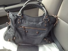 Balenciaga Town in Gris Tarmac with mini giant rose gold hardware - FW2012