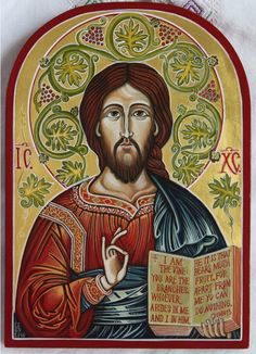 Jesus Christ with the vine leaves . Byzantine icon handmade painted. Only on demand.
