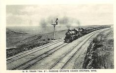 Granite Canyon Station Wyoming WY 1930 Union Pacific Train #3 Albertype Postcard