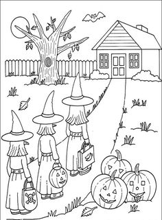 Printable Halloween Coloring Pages - Free Coloring Sheets Halloween Coloring Pictures, Free Halloween Coloring Pages, Fall Coloring Pages, Halloween Pictures, Printable Coloring Pages, Coloring Pages For Kids, Coloring Books, Colouring, Halloween Quilts