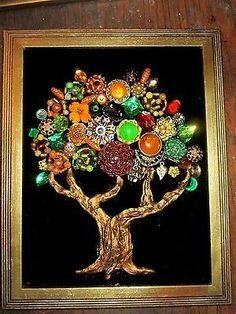Vintage Costume Jewelry Fall Tree Framed Rhinestones Beads Christmas in Jewelry & Watches, Vintage & Antique Jewelry, Costume Costume Jewelry Crafts, Vintage Jewelry Crafts, Recycled Jewelry, Vintage Costume Jewelry, Vintage Costumes, Antique Jewelry, Jewelry Frames, Jewelry Tree, Key Jewelry
