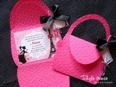 Convite Bolsinha | contato: marcelagomes@yahoo.com.br | Tchela | Flickr Barbie Theme Party, Barbie Birthday Party, Paris Birthday, Birthday Diy, Party Themes, Birthday Cards, Party Ideas, Pamper Party, Spa Party