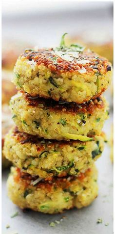 Collection of my favorite healthy dishes and the inspiration behind them - Garlicky & Cheesy Quinoa Zucchini Fritters