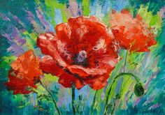 Buy Blooming poppies, Oil painting by Olha Darchuk on Artfinder. Discover…