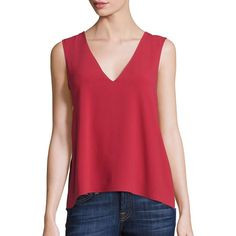 BCBGMAXAZRIA Georgette Asymmetrical Tank (£140) ❤ liked on Polyvore featuring tops, apparel & accessories, rosewood, open back tank, red sleeveless top, ruffle tank top, red top and flounce top