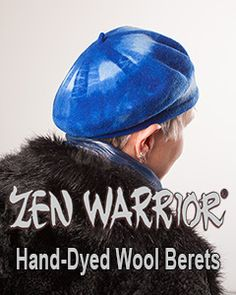 Zen Warrior Hand-Dyed Wool Beret in rich layers of cobalt blue, knitted in the Czech Republic and dyed in Wisconsin by artitst Tracy Lea Landis. One-size-fits-all $18 plus shipping at zenwarrior.com/brightblue.htm