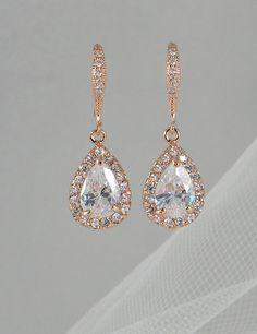 Rose Gold Bridal earrings, Wedding jewelry, Swarovski Crystal Wedding earrings Bridal jewelry, Ariel Drop Earrings on Etsy, $34.00