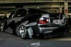 BMW E90 3 series camo slammed