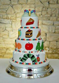 A great Very Hungry Caterpillar Cake, but I would scale it down. 4 Tier Wedding Cake, Cool Wedding Cakes, Cupcakes, Cupcake Cakes, Kid Cakes, Cupcake Ideas, Hungry Caterpillar Cake, Caterpillar Book, Thomas Birthday Cakes