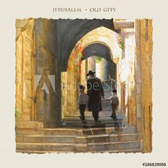 Jerusalem Old City, street. Oil painting fine art. Hand Drawn. Israel. Jewish holidays. Jew, Jewish man, Jewish wedding. Torah, Judaism. Bar Mitzvah. Jewish family. Rosh Ha Shana, Sukkot. Passover