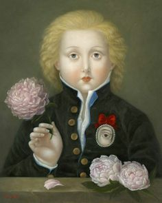 "Old Painting with a boy wearing a"" Lover Eye's Jewelry pin""."