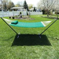 Sunnydaze 2 Person Freestanding Quilted Designs Fabric Spreader Bar Hammock with Stand-Includes Detachable Pillow, 350 Pound Capacity, Green Rope Hammock, Hanging Hammock Chair, Hammock Stand, Patio Lounge Furniture, Patio Furniture For Sale, Outdoor Furniture Sets, Modern Furniture, Free Standing Hammock, Double Hammock With Stand