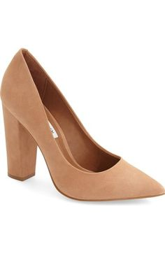 Free shipping and returns on Steve Madden 'Primpy' Pointy Toe Block Heel Pump (Women) at Nordstrom.com. A blocky wrapped heel updates the graceful, streamlined profile of a pointy-toe pump crafted from supple leather or suede.