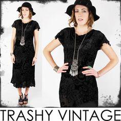 vtg 90s boho SHEER gypsy BURNOUT VELVET draped COWL neck FLUTTER slv maxi dress $38.00