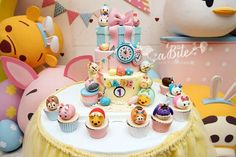Amazing Easter Tsum Tsum party cake! See more party planning ideas at CatchMyParty.com!