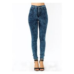 High-Waisted Acid Wash Jeans ($47) ❤ liked on Polyvore featuring jeans, bottoms, pants, acid wash jeans, blue jeans, high-waisted jeans, stretchy jeans and high rise jeans