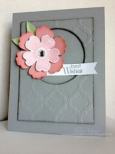 """handmade greeting card ...  """"new"""" soft gray card base and main panel ... panel embossed with tiles ... die cut circle leaves negative space ... like the light inking in black on the edges ... layered flower in pinks .... luv this card! ...Stampin' Up!"""