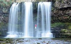 """Sgwd Yr Eira, Wales One of several spectacular waterfalls found in the Mellte Valley in the Brecon Beacons, Sgwd Yr Eira - meaning """"fall of snow"""" - can be reached from the car park at the Porth yr Ogof cave, where the river disappears und Places To Travel, Places To See, Brecon Beacons, Beautiful Waterfalls, Photo Location, South Wales, Days Out, Day Trips, The Great Outdoors"""