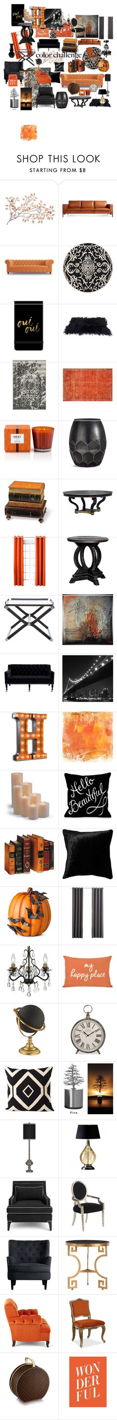 """LoveOrange&Black"" by dana-einck on Polyvore featuring interior, interiors, interior design, home, home decor, interior decorating, Blu Dot, Joybird, Safavieh and Fringe"