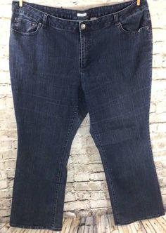 Liz Claiborne Boot Cut Mid Rise Stretch Jeans Plus Size 20W Dark Wash 5 Pocket  #LizClaiborne #BootCut #PlusSize #Stretch #Denim #Jeans