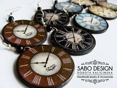 WHOLESALE Antique CLOCK EARRINGS retro steampunk by SaboDesign - 25 pairs