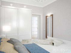 Белый шкаф купе в спальне в стиле минимализм. Элегантный дизайн обоев