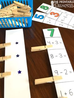 Addition and Subtraction practice: Students read the number on top and solve the equations. They clip the ones that equal the number on top. Make this activity self checking by putting stickers on the correct answers BEFORE laminating!