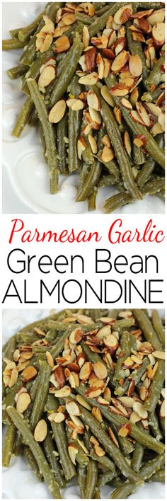 Parmesan Garlic Green Bean Almondine - A modern twist on the classic with green beans tossed in lemon garlic butter with Parmesan cheese and toasted almonds. Side Dishes Easy, Vegetable Side Dishes, Side Dish Recipes, Vegetable Recipes, Vegetarian Recipes, Cooking Recipes, Healthy Recipes, Thanksgiving Recipes, Holiday Recipes