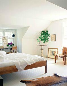 bedroom, houseplant, white floors