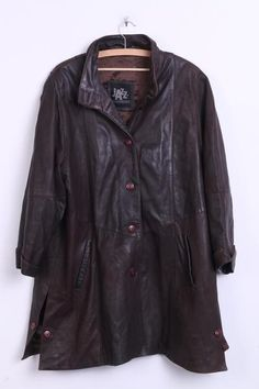 Jazz Womens 40 XL Leather Jacket Brown Long Single Breasted - RetrospectClothes